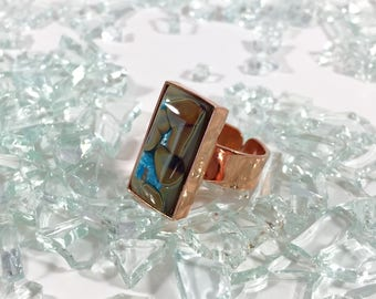 fused glass adjustable copper ring in tans and blue sparkle
