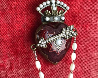 SOLD to HG - poison arrow - necklace red enamel heart crown baroque pearl rhinestone rosary tapestry ribbon statement the french circus