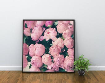 Extra large wall art canvas art, peony print, peonies wall art, blush pink decor, blush pink wall art, gifts for her, gifts for women, Paris