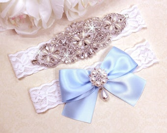 Blue Wedding Garter, Wedding Garter Blue, Blue Bridal Garter, Vintage Garter Set, Blue Garter Set, Something Blue, Wedding Garter Set