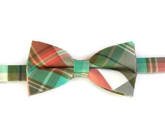 Summer Plaid Boys Bow Tie - Pre-tied Bow Tie - Kids Bow Tie - Tartan Bow Tie - Bow Tie for Boys - Green and Grey Bow Tie