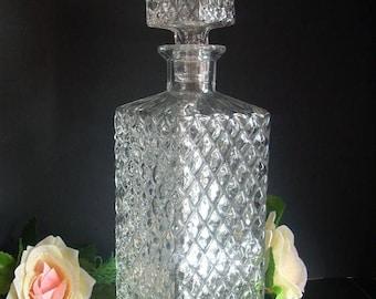 ON SALE Vintage Glass Decanter,Whiskey Decanter, Liquor Decanter,Carafe,Kithcen Decor