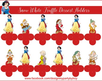 12 SNOW White Chocolate Holders, Truffle Dessert Cups, Party Favors, Thank you Boxes,Brigadeiro para Forminhas,Chocolate Holders,Snow White.