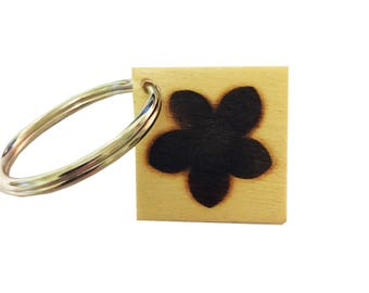 Square Wooden Floral Keychain