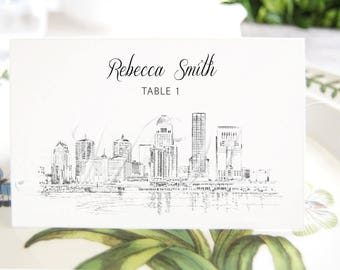 Louisville Skyline Place Cards, Fairytale Wedding, Placecards, Escort Cards, Kentucky Wedding, Custom with Guests Names (Set of 25 Cards)