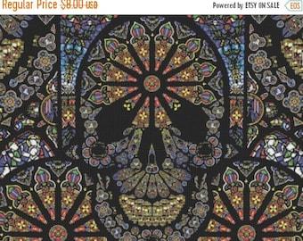 sugar skulls glass stained glass - 386 x 294 stitches Counted Cross Stitch Pattern вышивки крестом needlework korss  B739