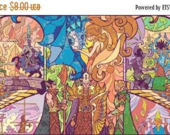 Lord of the Rings Cross Stitch Pattern stained glass rings pattern kreuzstitch -386 x 185 stitches- Instant Download - B1089