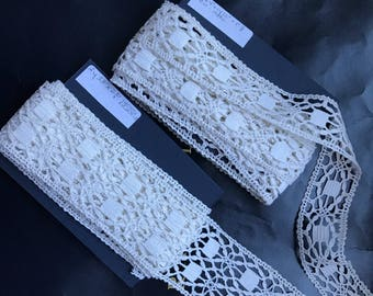 "2 Antique belgian linen bobbin lace trims geometric design  white never used 3 yard 33"" each impeccable .For home decor, costume , clothing"