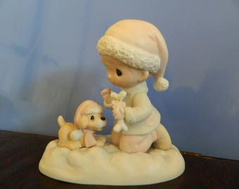 """Precious Moments Child With Puppy Dog """"Wishing You A Season Filled With Joy"""" (C)"""