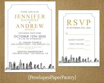 Los Angeles California Destination Wedding Invitation,Los Angeles  Cityscape,Skyline Sketch,White,