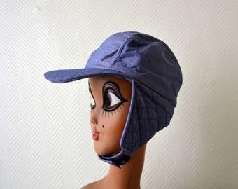 Vintage Trapper hat / trooper hat / bomber hat / Hiking cap / padded blue cap