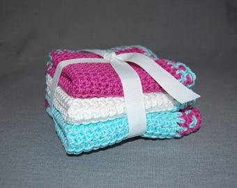 Linen stitch crochet wash clothes ~ 3 Pack