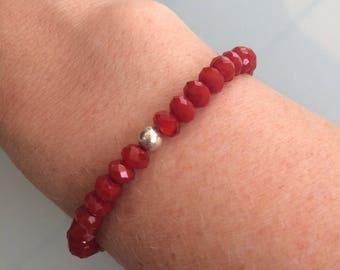Red crystal stretch bracelet Sterling Silver bead Ruby July birthstone red crystal bracelet stacking elastic bracelet jewelry jewellery gift