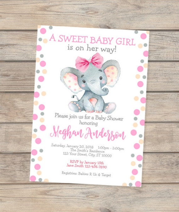 Elephant baby shower invitation baby girl elephant baby shower il570xn filmwisefo