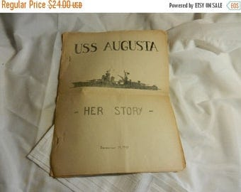 Summer Sale Vintage WW2 1945 dated USS Augusta Her Story Unit History