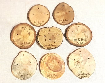 X Large Laser Engraved log slice 20-25 wooden tags   Custom gift branch slices   wedding event reunion church grand opening wood favors