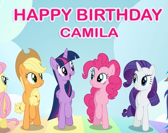 Birthday banner Personalized 4ft x2ft Ponies