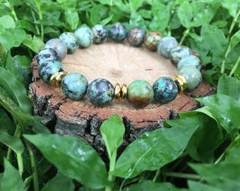 Priscilla Bracelet-  African Turquoise(10mm) and Gold  Nugget Bracelet- green and gold- oliver grey jewelry