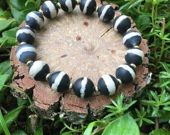 Dorothy Bracelet- Black & White Striped Agate(10mm) Bracelet- gemstone jewelry- tribal bracelet- oliver grey jewelry