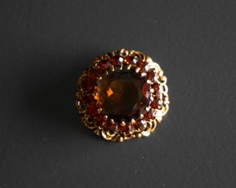 Pretty Vintage Amber Rhinestone Brooch // Vintage Jewellery // Gifts for Her // Vintage Brooch // 1960s Fashion // 1960s Brooch // Retro .
