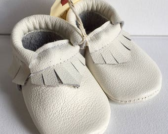 Size 1- White Leather Moccasin (Ready to ship)