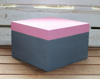 Wooden box, wooden casket, pink, grey