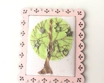 Small textile wall hanging - Panel - embroidered table