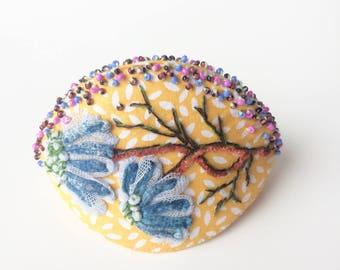 Boite à bijoux en tissu brodé - Kai No Kuchi - boite japonaise