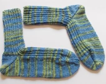 hand-knitted socks, Gr. 44/45 (EU),  blue - green