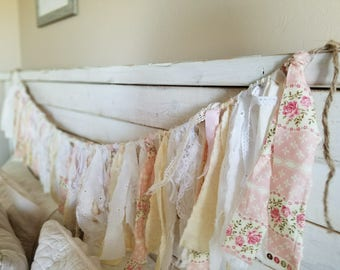 Vintage Pink and white Fabric Garland