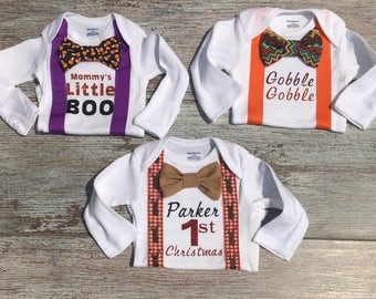 Baby boy holiday Pack, My First Halloween Outfit, My First Thanksgiving Outfit, My First Christmas Outfit, Baby Shower Gift, 1st Grandparent