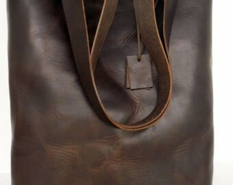Dark Brown Leather Tote  - Distressed Dark Leather Travel Bag - Leather Market Bag- LeatherTote-Brown leather tote,