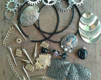 Black & Metal Steampunk Inspired Mixed Destash Junk Jewelry Craft Lot Mixed Jewelry Pieces