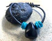 Shungite Bracelet w/Turquoise & Pyrite