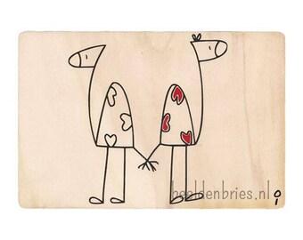 Wooden valentine's card beestjes
