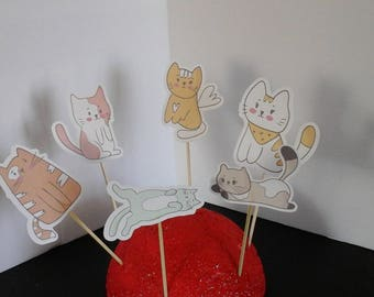 Cat Cake Toppers==Dog Cake toppers===Cat cupcake Toppers===Dog cupcake toppers... Set of 12... Choice of one side or two sided pick