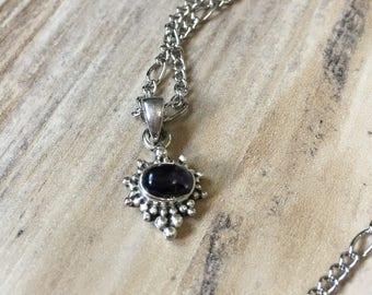 Dark Blue Stone Necklace