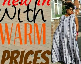 Warm slip through elegant   maxi dress in beautiful greys