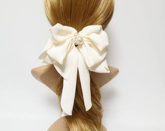 Chiffon Drape Long Tail Bow French Hair Barrette Handmade Women Hair Slide Accessory