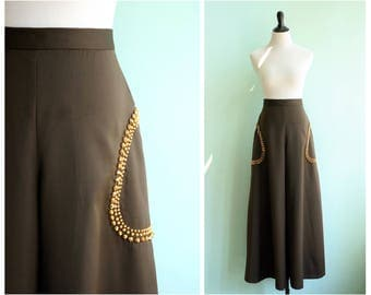 Vintage 1970's Wide Leg Studded Palazzo Pants | Size Small