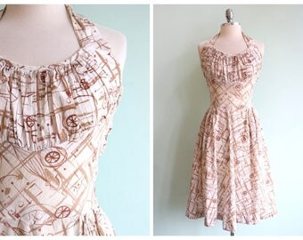 Vintage 1950's Bicycle Novelty Print Dress | Size Medium