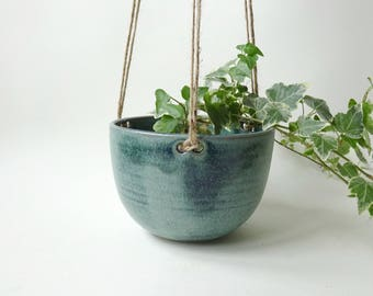 Hanging Planter - Hanging Vase for small and medium plants - Blue Green Handmade Ceramic hanging pot