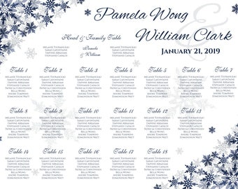 Printable Wedding Seating Chart | PDF file | Winter Silver Navy Blue Snowflakes - EMAIL Delivery