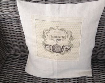 old hemp and linen application tea time pillow cover