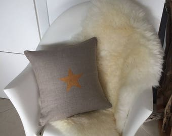 """Cushion cover in 100% natural washed linen gold """"Star"""""""