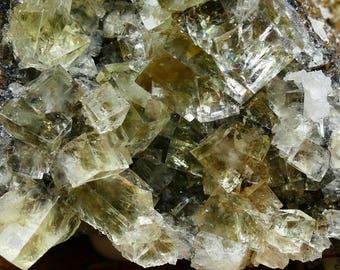 Glassy Yellow Fluorite Mineral Specimen in Matrix