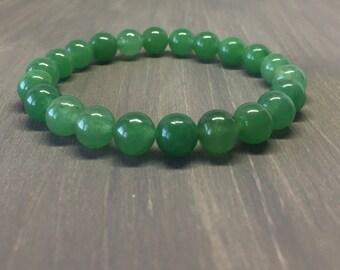 8mm Green Aventurine Bracelet - Gemstone Bracelet - Yoga Bracelet - Friendship Bracelet - Chakra Bracelet - Reiki Bracelet