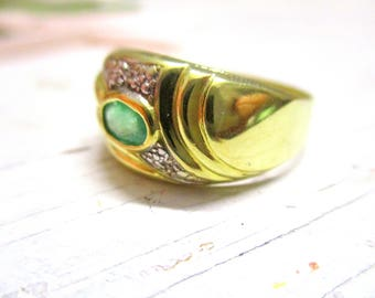 19.4 mm ring with faceted Emerald 333er Gold