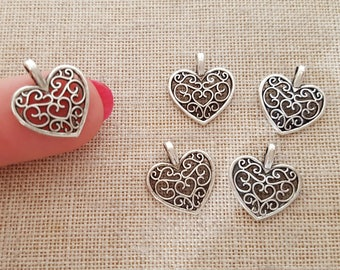 Lace Heart Charms x 5. Filigree Heart Charms.  Valentines Charms.  Wedding Charms. Antique Tibetan Silver Tone. UK Seller