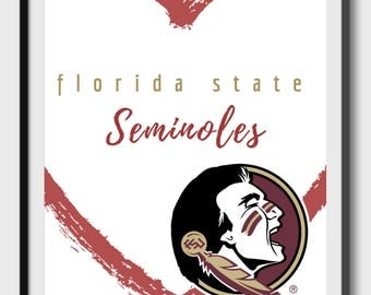 Florida State Seminoles - Red Heart - Go Noles - Garnet and Gold -  Instant Download
